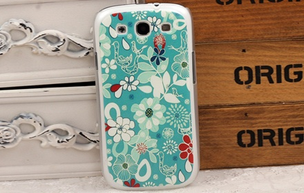 彩绘蓝色花纹三星手机壳