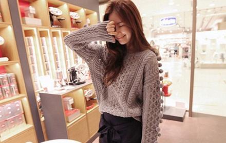 休闲时尚针织毛衣 镂空花纹