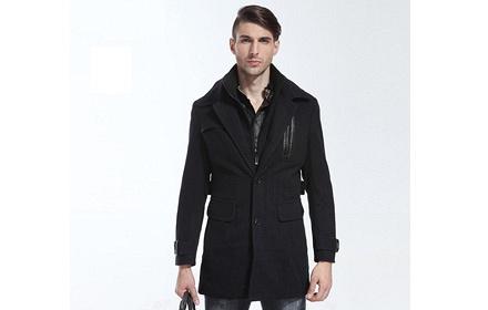 男士黑色风衣外套