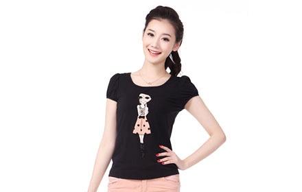 印小美女t恤黑色