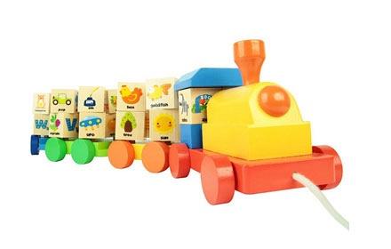 儿童益智木质玩具 旋转积木火车 帮助宝宝提高创造力,锻炼宝宝大肌