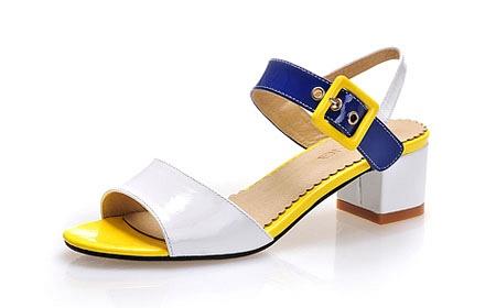 头层牛皮女鞋女凉鞋黄色