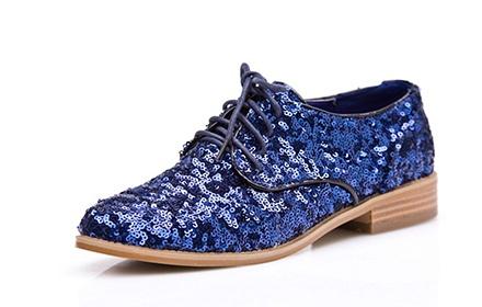 欧美潮流时尚女单鞋蓝色