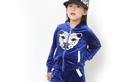 新款童装秋款 秋装女童天鹅绒套装宝宝儿童卫衣二件套潮3zt-346深蓝色