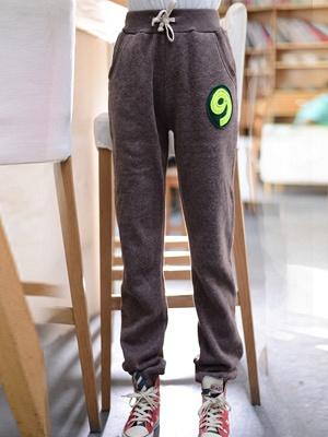 cmyk 9字图案卫裤咖啡色