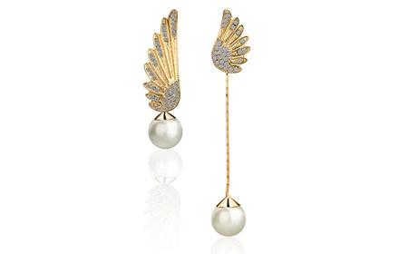 天使翅膀耳环 女 时尚可爱完美无暇天使耳环