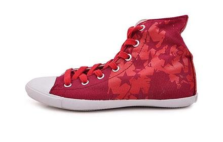 匡威 高帮红色女帆布鞋