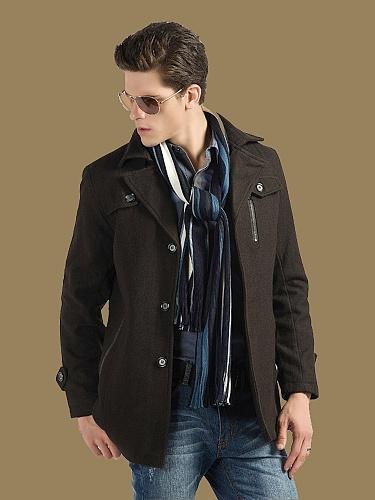 咖啡色呢子大衣外套
