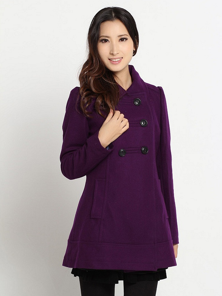 艾格 新款紫色大衣