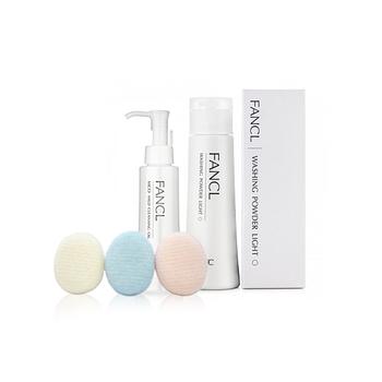 日本•FANCL清洁套装(净化修护卸妆液120ml+柔滑洁面粉 50g+深层洁净洗面扑)