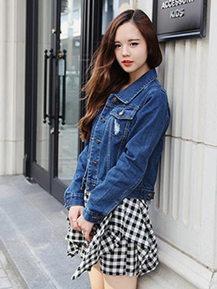蓝色韩版牛仔小外套