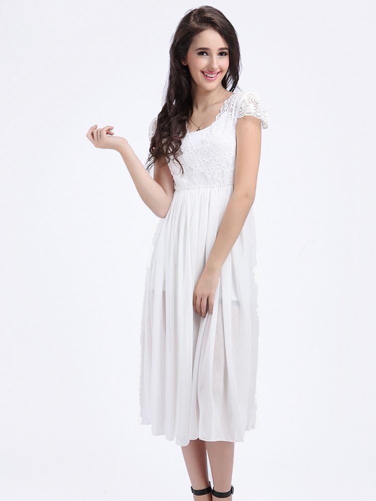 欧美蕾丝雪纺拼接连衣裙白色