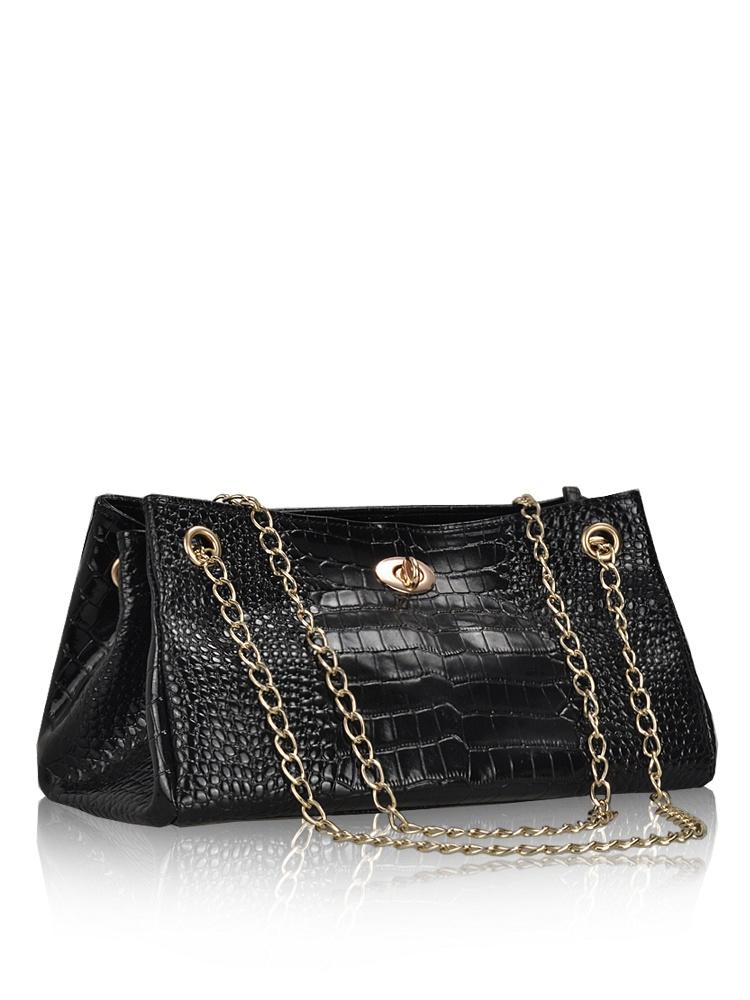 火迪新款板牙链条鳄鱼纹手提包-聚美优品-名园时尚图片