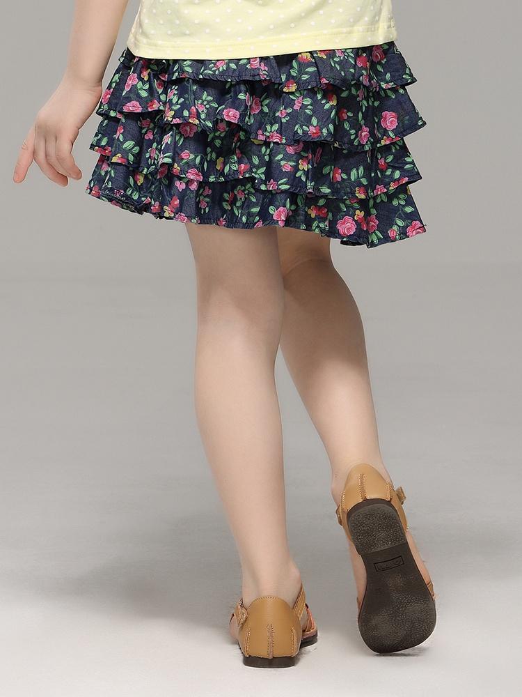 蛋糕雪纺层短裙子花纹