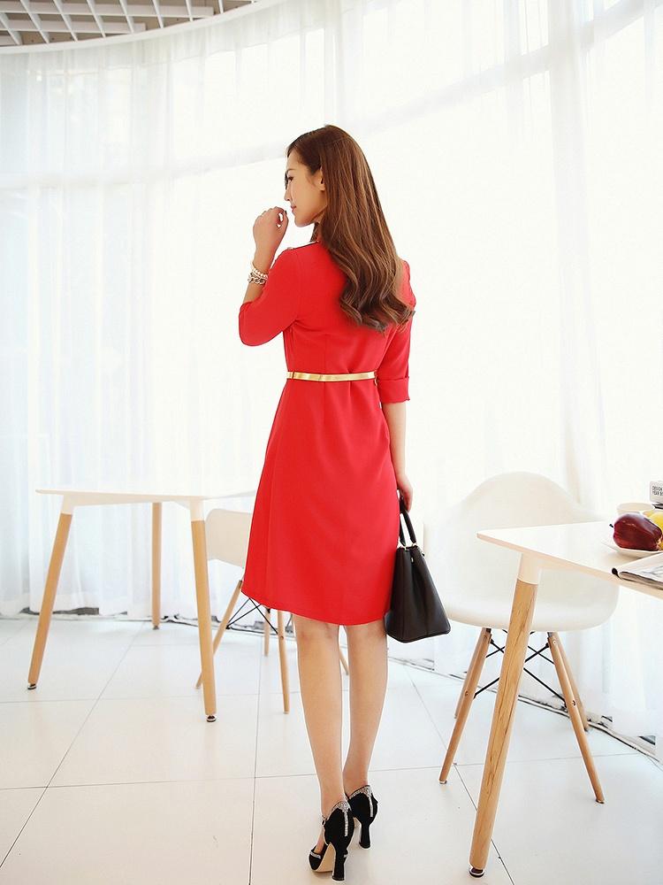 高圆圆款红色连衣裙