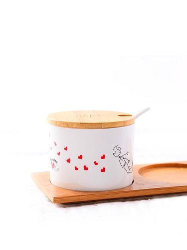 爱情简笔画调味罐