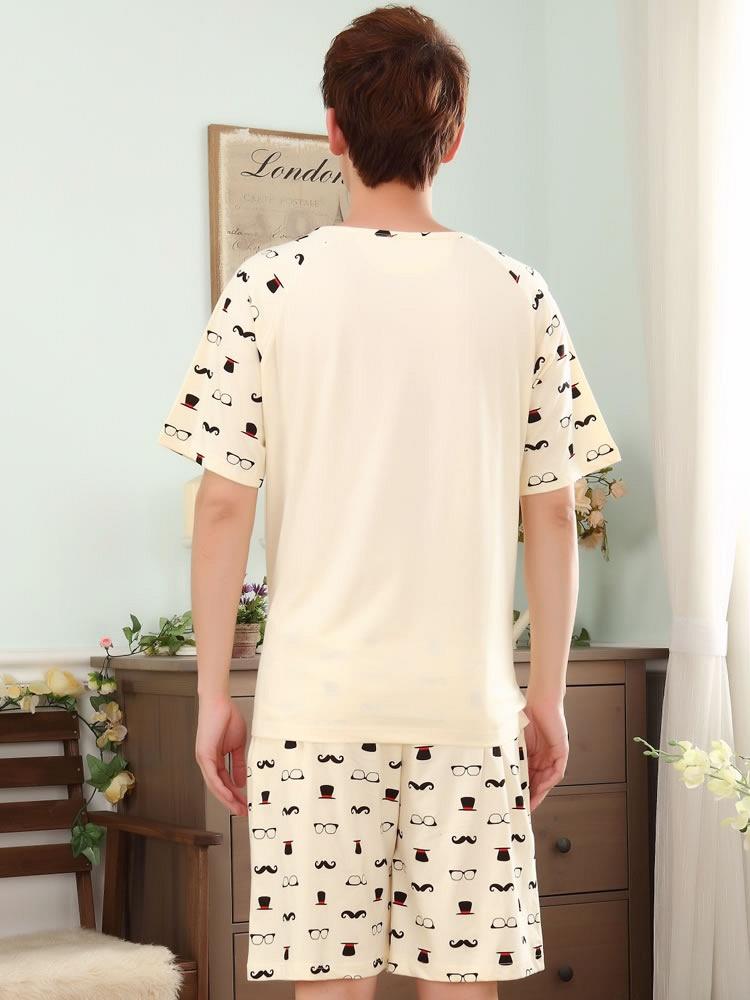 情侣短袖纯棉创意睡衣男人卡通男可爱休闲家居服套装