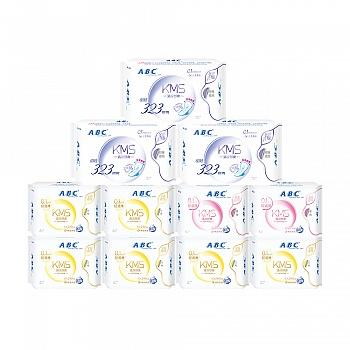 中国•ABC轻透薄含KMS配方棉柔表层卫生巾 11包(日48片+夜16片+加长夜用9片)