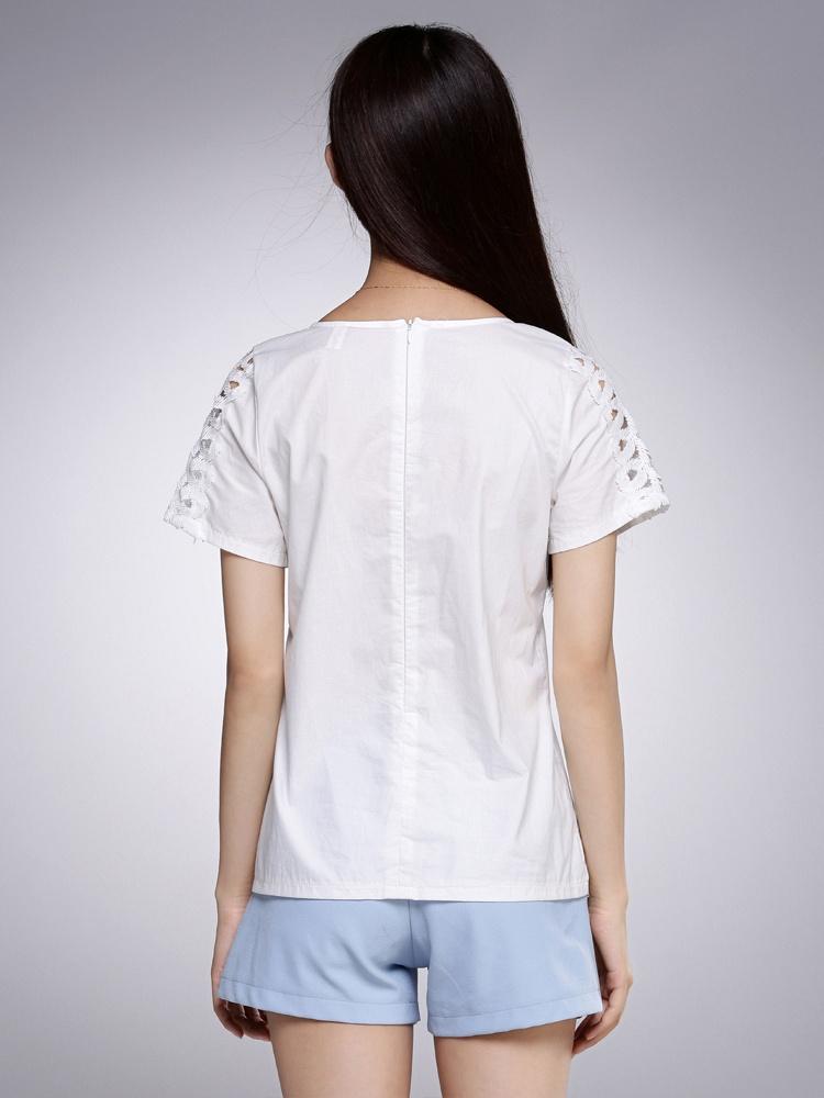 叹【tan】时尚圆领百搭白色衬衫
