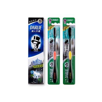 黑人(DARLIE)超白情侣档 超白竹炭深洁牙膏140g+炭丝深洁牙刷(两支)