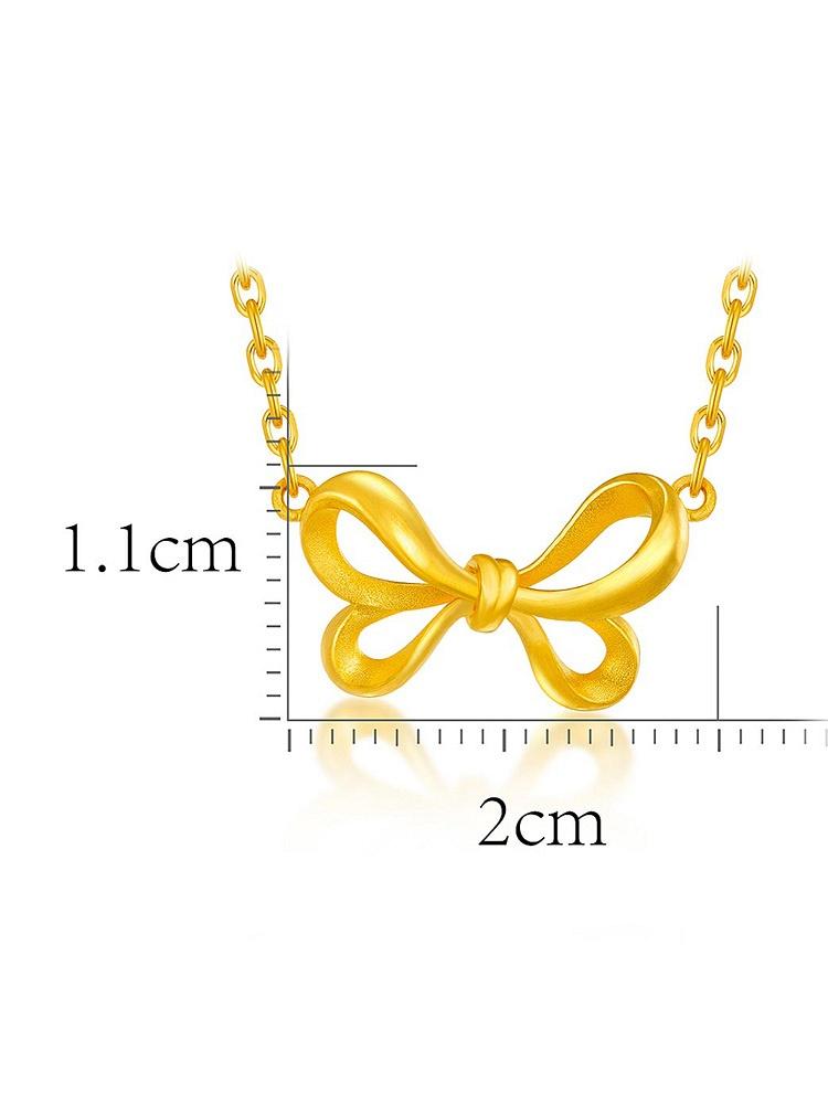 六福珠宝千足金蝴蝶结黄金项链套链(计价)黄色