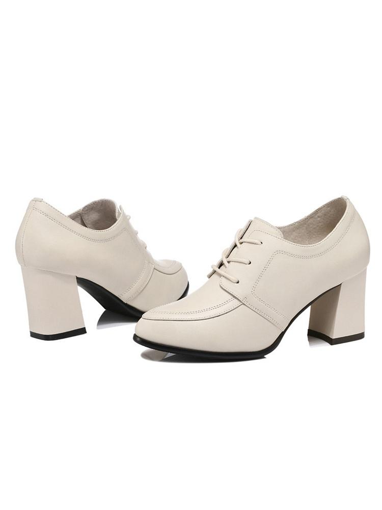 头层牛皮女鞋粗跟皮鞋