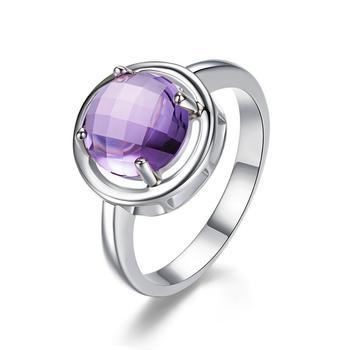 柏荷baihes925银镶嵌紫水晶宝石戒指