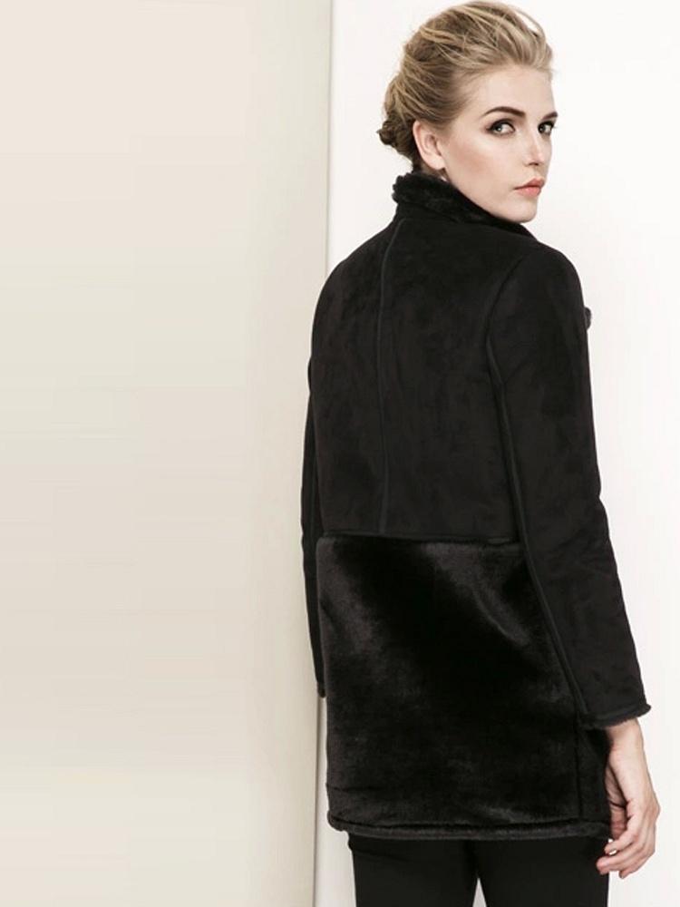 秋冬新款黑色毛绒拼接长款外套女加厚舒适