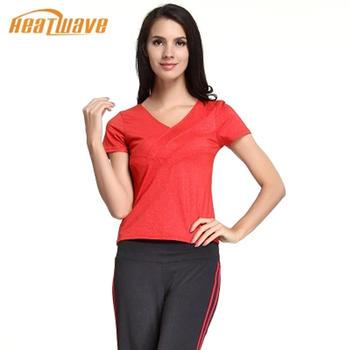 热浪 红色简约修身短袖瑜伽服
