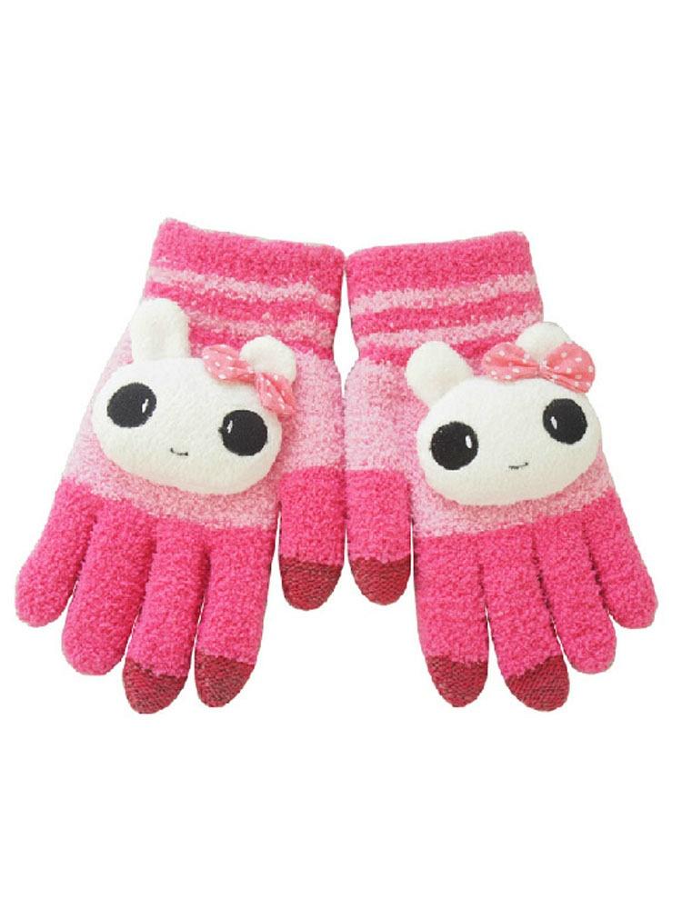 触屏手套 女冬季卡通兔子可爱韩版毛线触控手套