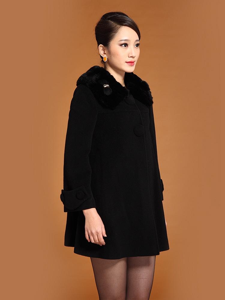 波司登 獭兔毛领中长羊绒大衣 黑 - 聚美优品 -