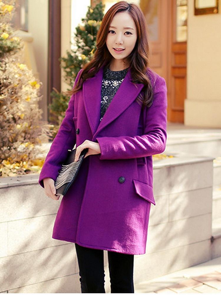 紫色双排扣毛呢外套