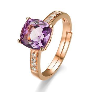 柏荷baihe天然 紫水晶戒指