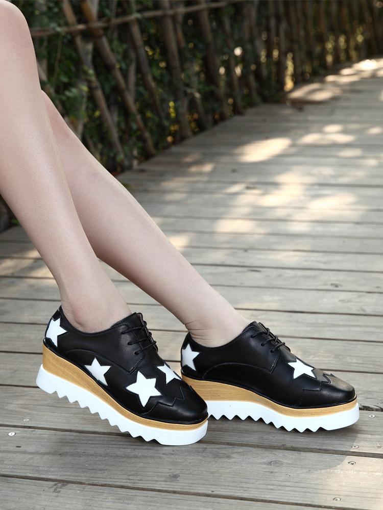 zhr 2015新款明星同款星星鞋厚底松糕鞋女平底单鞋  黑色