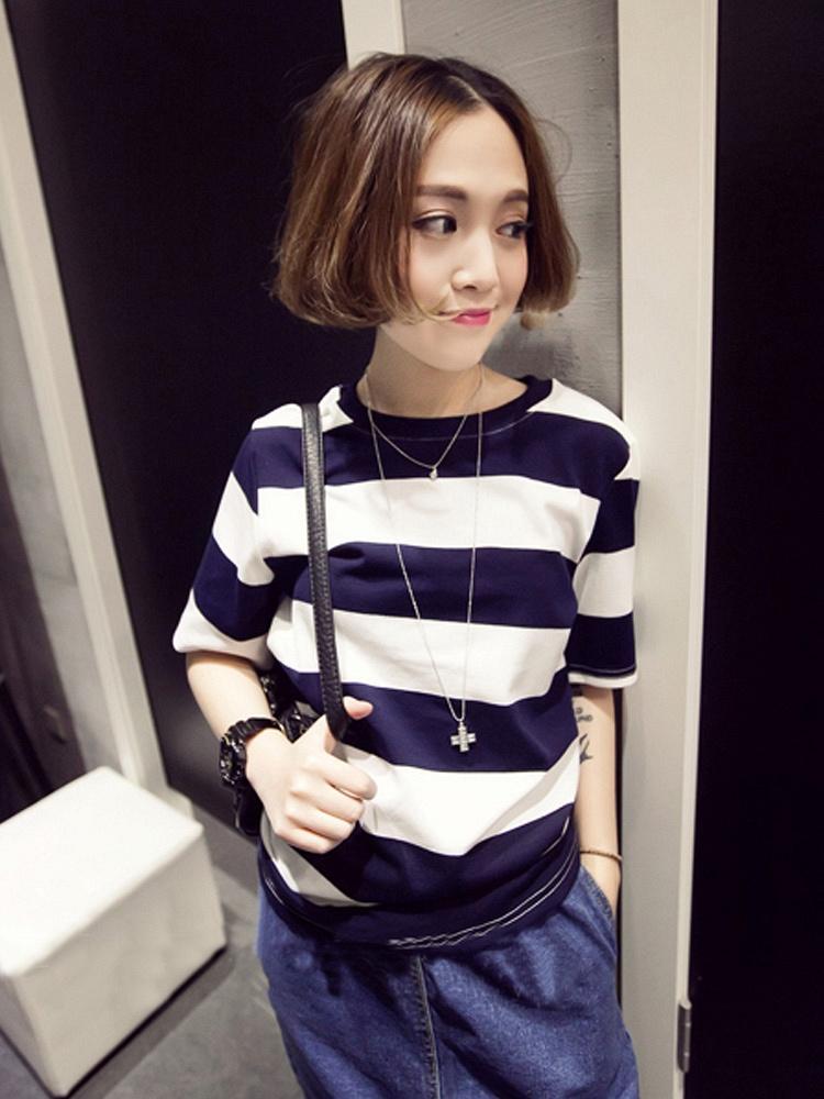 海军蓝色风粗正品T恤-聚美优品-最大条纹化四级螺纹钢