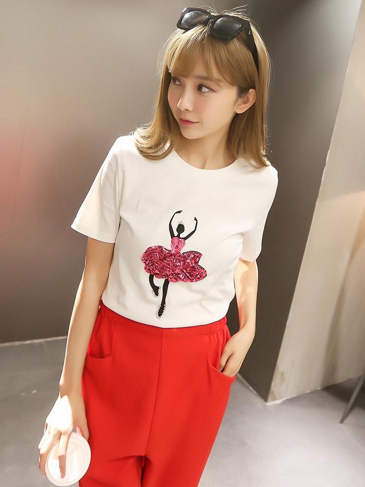 卡通舞女头像女生印花衣服T恤白-聚美优品-图案头像唯美圆领个性图片