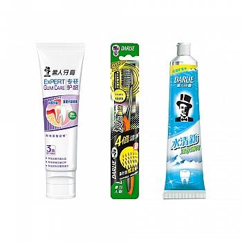 黑人(DARLIE)专研护龈牙膏80g+水清新牙膏90g+炭丝旋洁牙刷