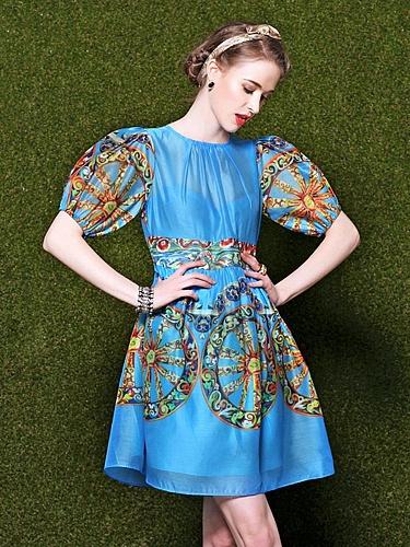 欧式复古印花灯笼袖连衣裙
