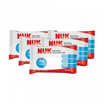 德国•NUK超厚特柔婴儿湿巾10抽五连包