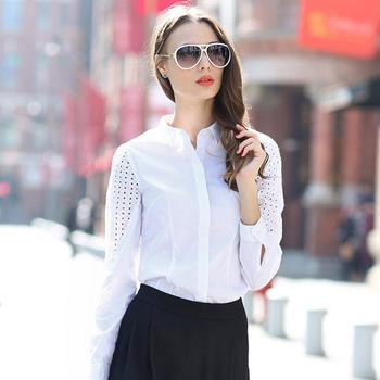 欧美时尚袖子镂空OL衬衫
