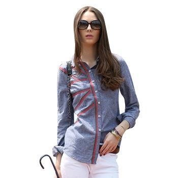 修身型长袖衬衫蓝色