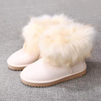 中国•娅莱娅短筒仿狐狸毛雪地靴米色