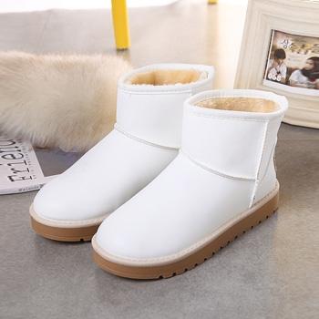 冬季新款PU短筒防水靴子白色