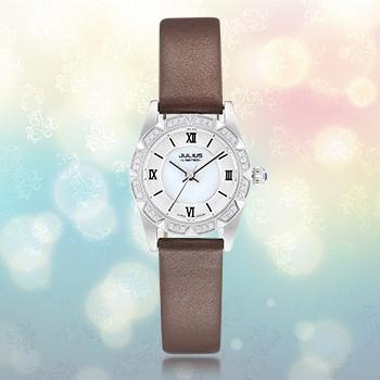 聚利时棕皮时尚贝母镶钻女士手表