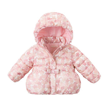 davebella女童冬季加厚棉服樱花印花