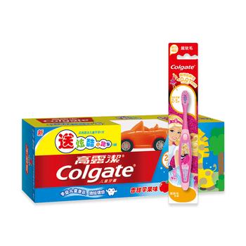 美国•高露洁(Colgate)儿童牙膏苹果味(2-5岁)40g送赠品+芭比儿童牙刷(2-5)岁
