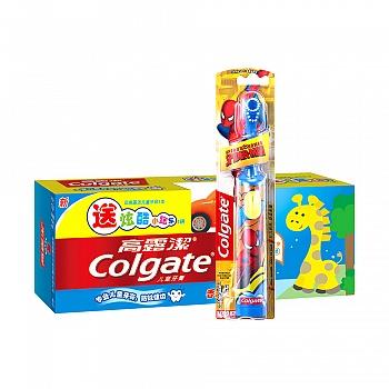 美国•高露洁(Colgate)儿童牙膏(2-5岁)40g苹果味送赠品小跑车+儿童电动牙刷(男孩版)