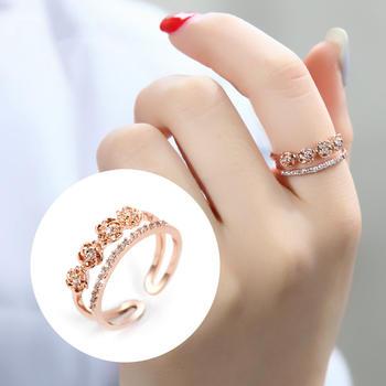 戴拉  时尚玫瑰花开口戒指简?#35745;食?#20154;食指指环手饰
