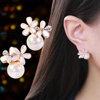 戴拉 925银针甜美清新花朵耳环女百搭仿珍珠耳钉耳夹