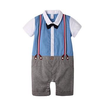中国•Augelute短袖衬衫吊带假2件连体淡蓝